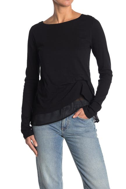 Image of ALLSAINTS Bev Mira Gathered Asymmetrical Contast Hem Top