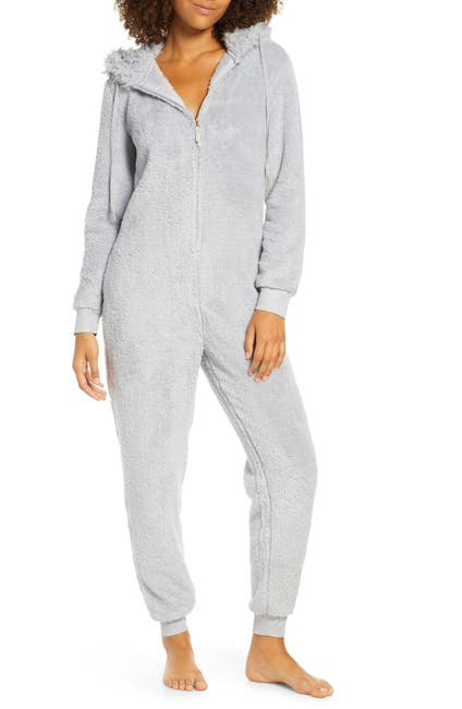 Image of Honeydew Intimates Snowed In Zip Hooded Jumpsuit
