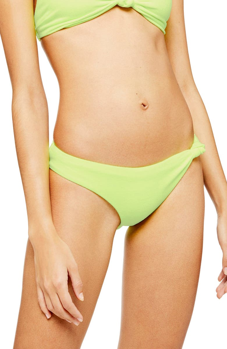 TOPSHOP Velour High Leg Bikini Bottoms, Main, color, LIME