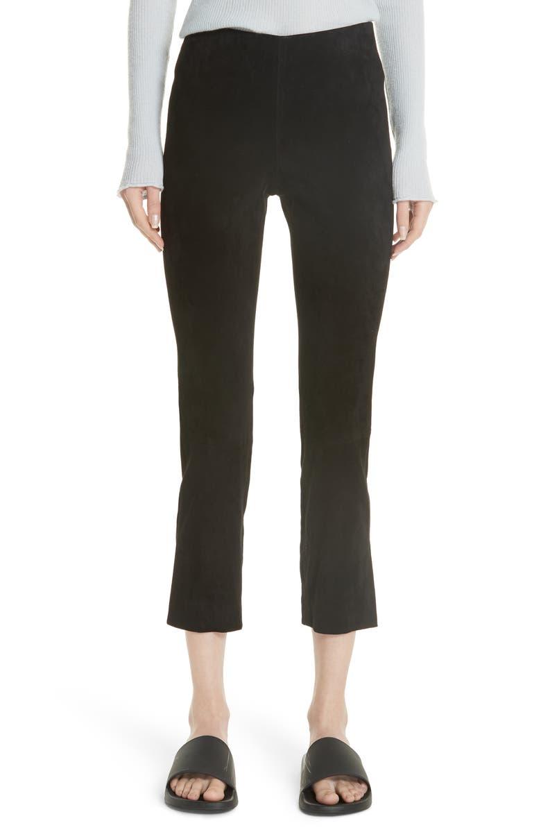 VINCE Split Hem Crop Stretch Suede Pants, Main, color, BLACK