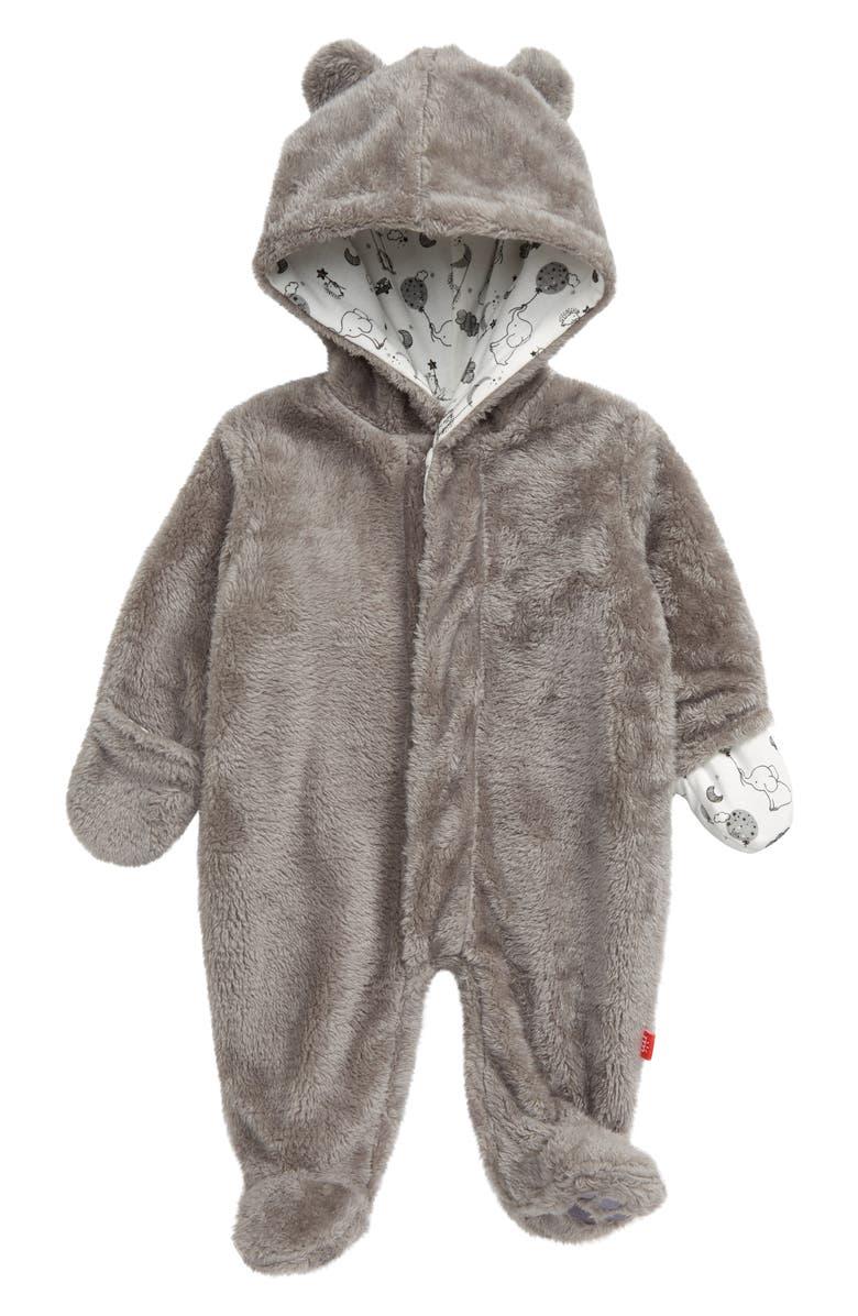 MAGNETIC ME Minky Fleece Hooded Footie, Main, color, 020