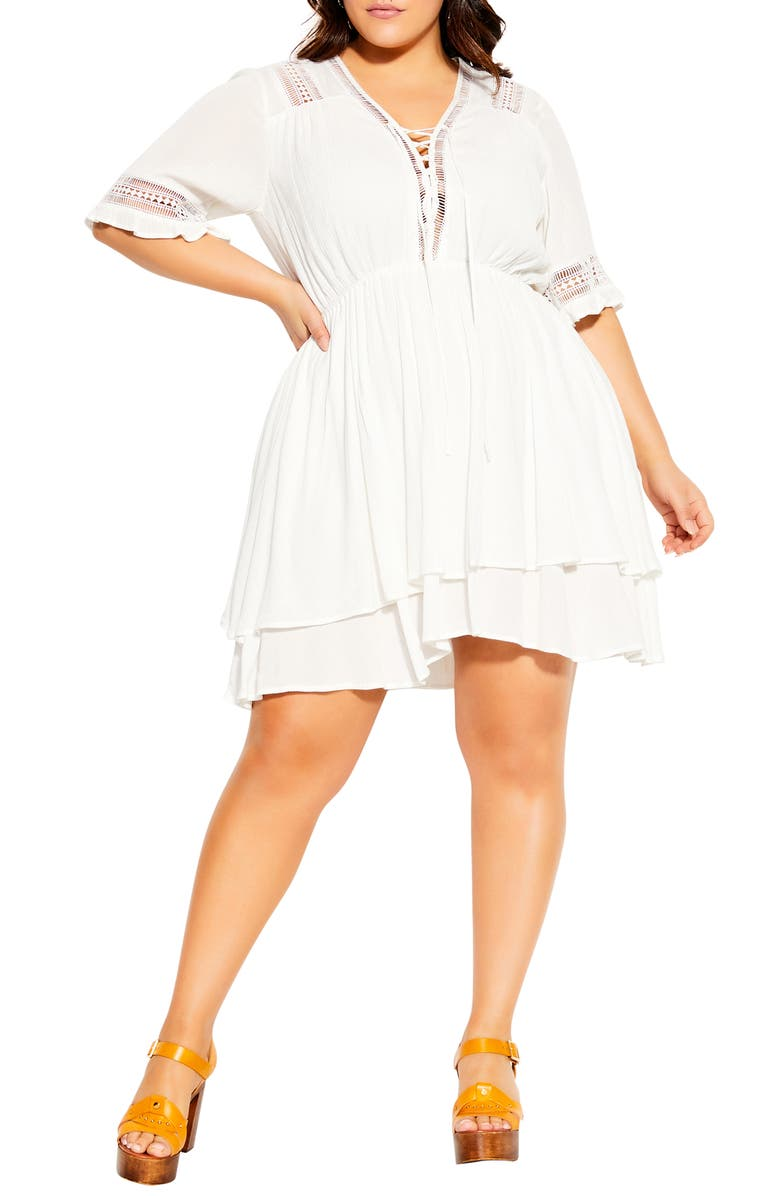 CITY CHIC Bring the Heat Tiered Minidress, Main, color, IVORY