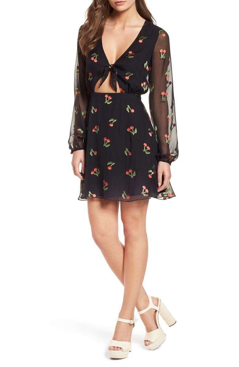FOR LOVE & LEMONS Cherry Twist Cutout Minidress, Main, color, 600