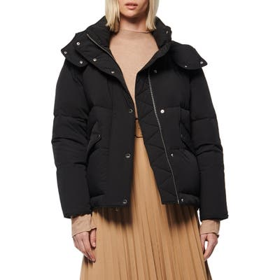 Andrew Marc Down & Feather Puffer Jacket, Black