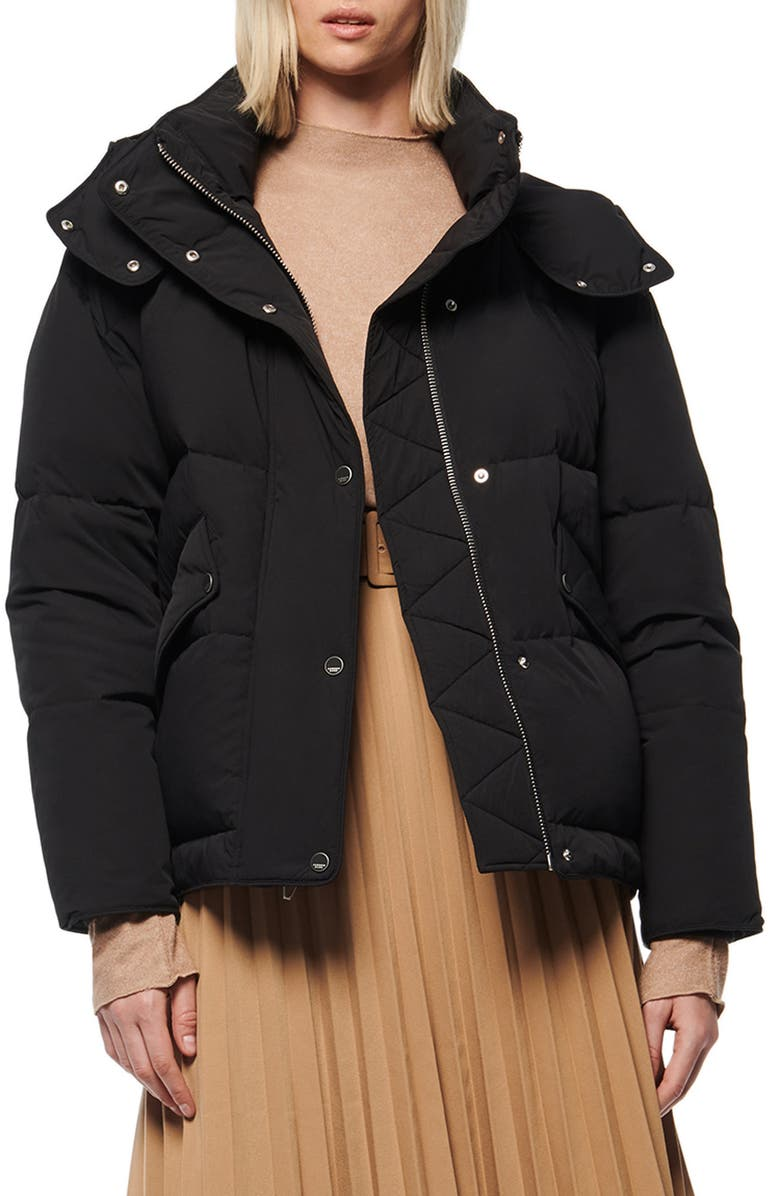ANDREW MARC Down & Feather Puffer Jacket, Main, color, BLACK