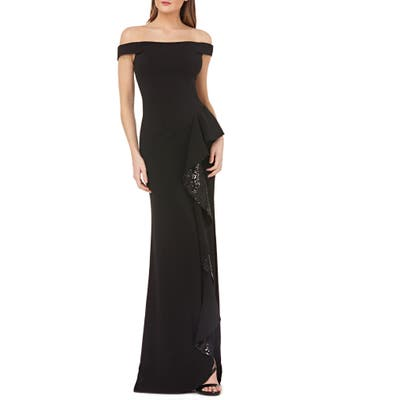 Carmen Marc Valvo Infusion Sequin Ruffle Off The Shoulder Gown, Black