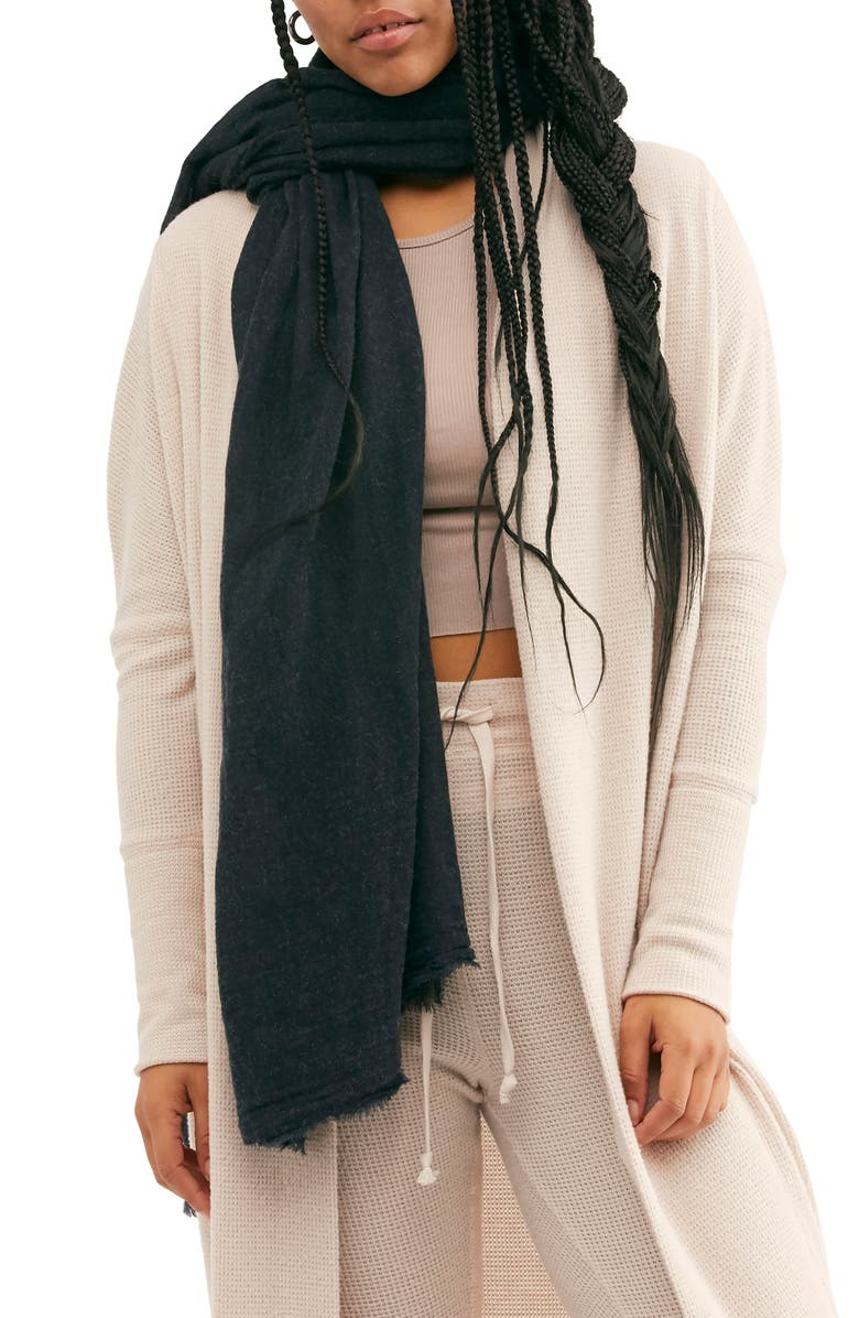 FREE PEOPLE All I Need Travel Scarf, Main, color, WASHED BLACK