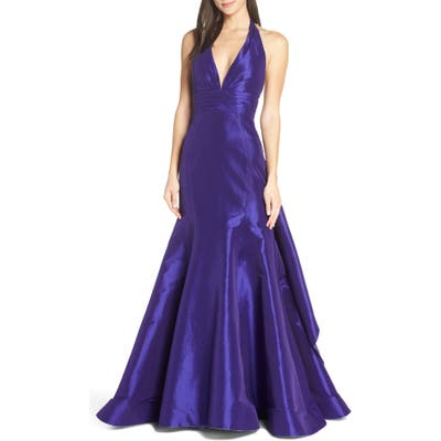 MAC Duggal Halter Neck Pleated Taffeta Mermaid Gown, Purple