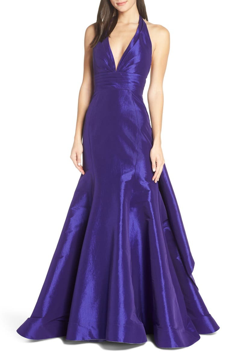 MAC DUGGAL Halter Neck Pleated Taffeta Mermaid Gown, Main, color, PURPLE
