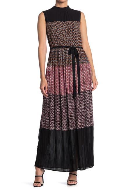 Image of DR2 by Daniel Rainn Mock Neck Maxi Dress w/ Pleated Skirt
