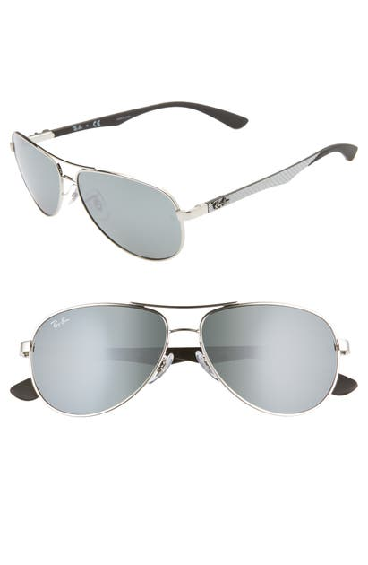 Ray Ban Sunglasses 58MM POLARIZED AVIATOR SUNGLASSES - GRY MIRROR