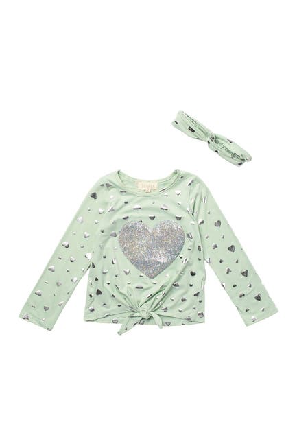 Image of Btween Heart Print Long Sleeve Top