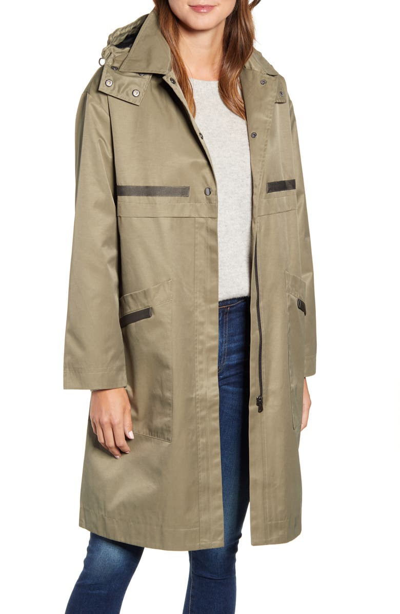 BERNARDO Long Hooded Raincoat, Main, color, ARMY