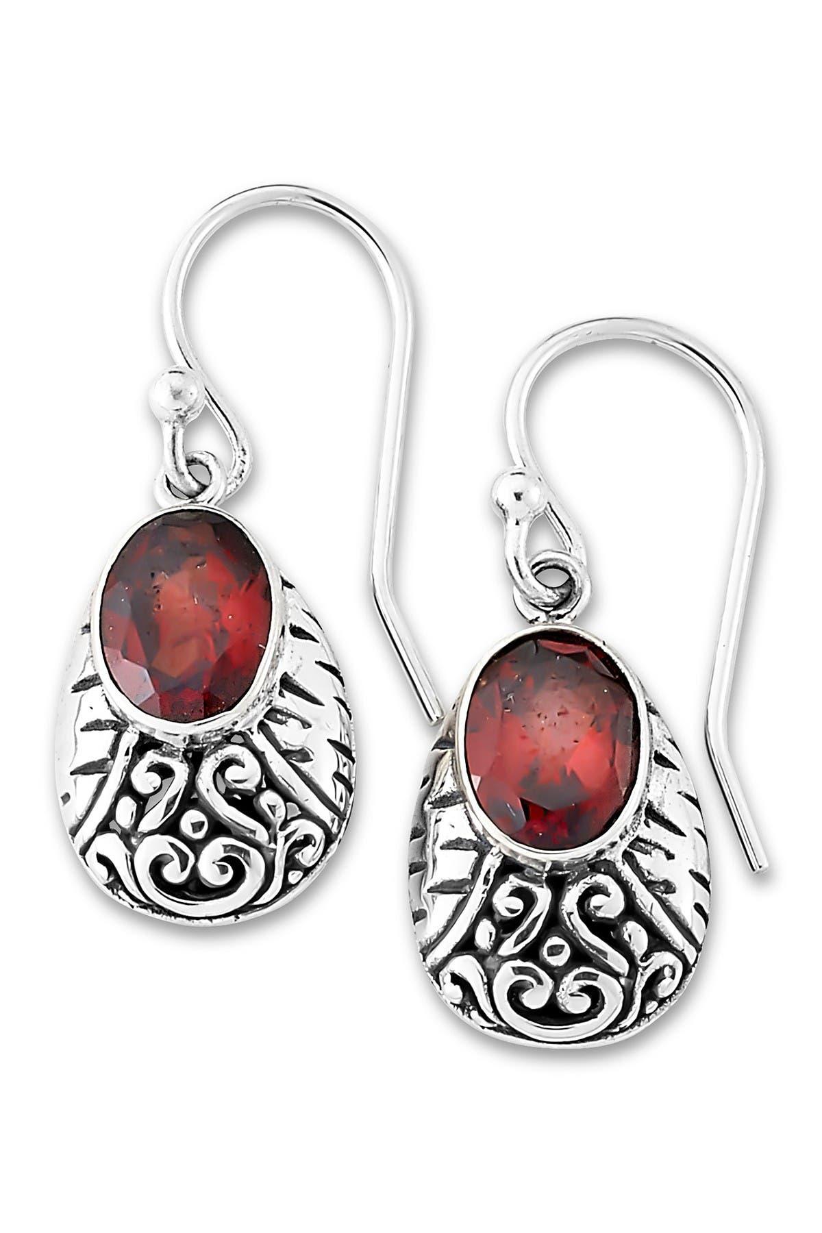 Image of Samuel B Jewelry Sterling Silver Oval Garnet Bali Design Drop Earrings