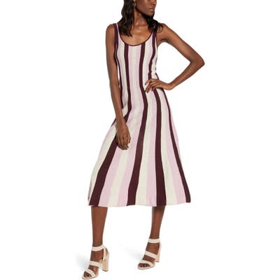 Plus Size Leith Stripe Fit & Flare Sweater Dress, Brown