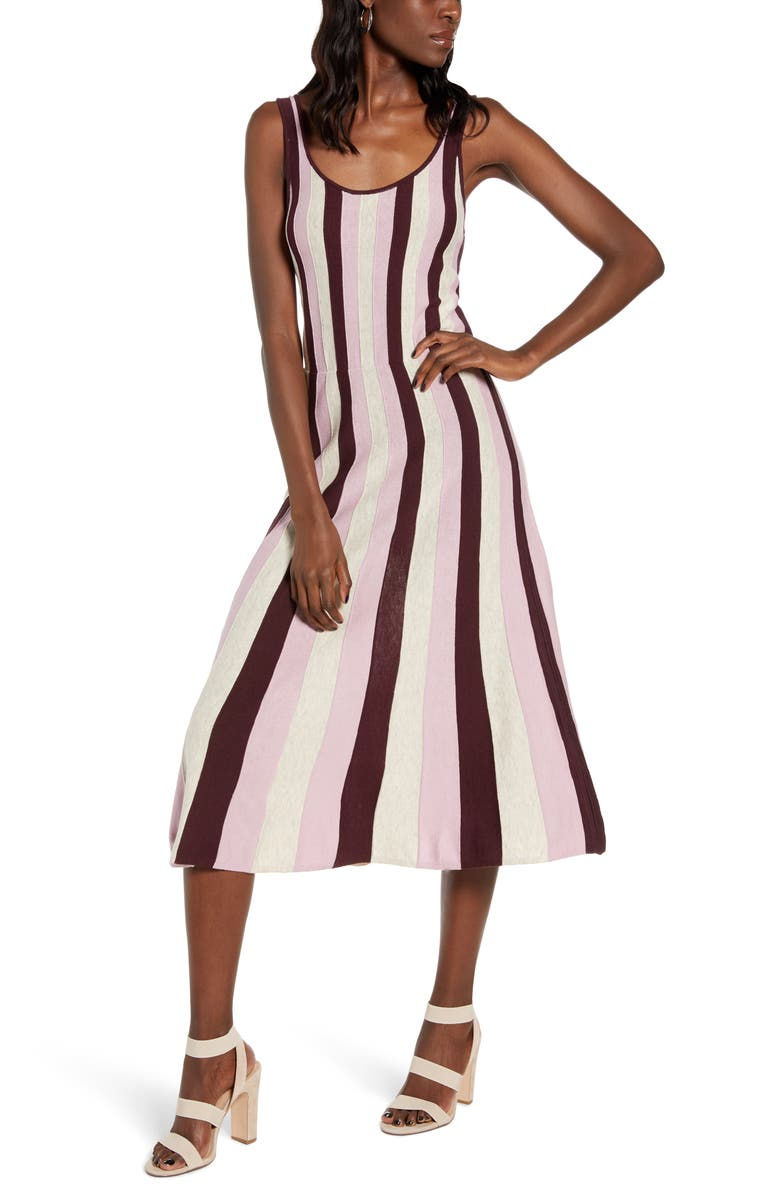 LEITH Stripe Fit & Flare Sweater Dress, Main, color, BURGUNDY FUDGE COMBO