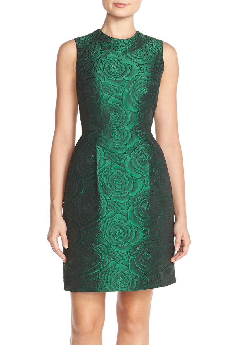 TAHARI Floral Jacquard Sheath Dress, Main, color, 307