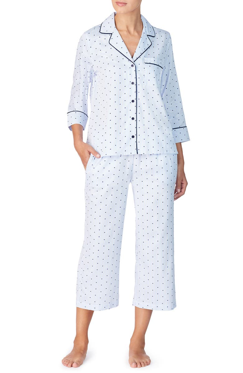 KATE SPADE NEW YORK sateen capri pajamas, Main, color, MINI HEART