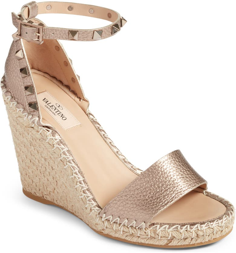 VALENTINO GARAVANI Rockstud Espadrille Sandal, Main, color, SKIN METALLIC LEATHER