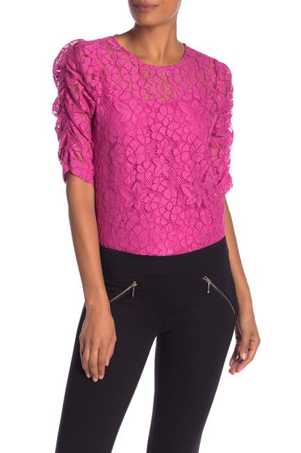 Image of NANETTE nanette lepore Lace Shirred Elbow Sleeve Top