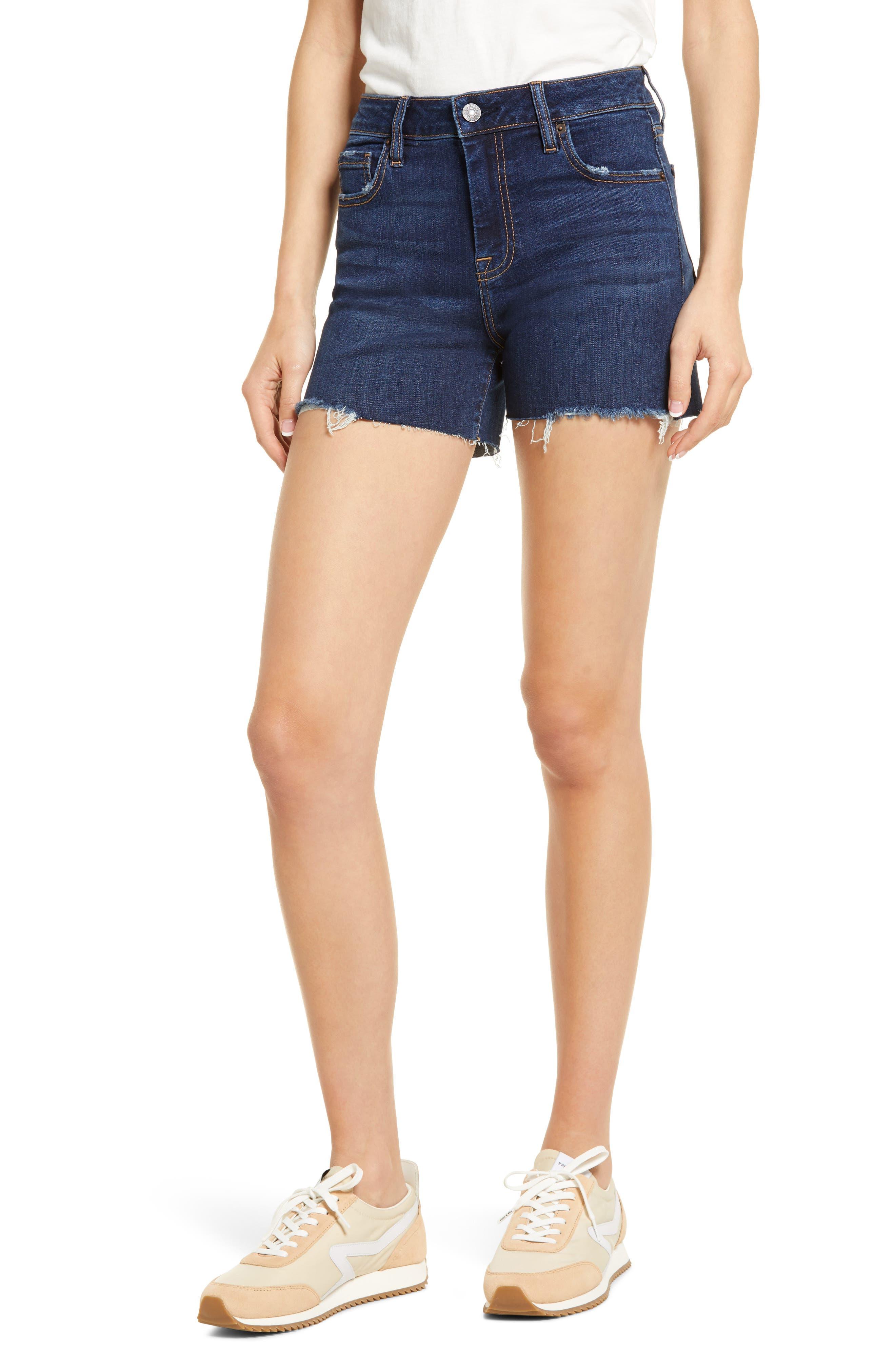 High Waist Raw Hem Denim Shorts