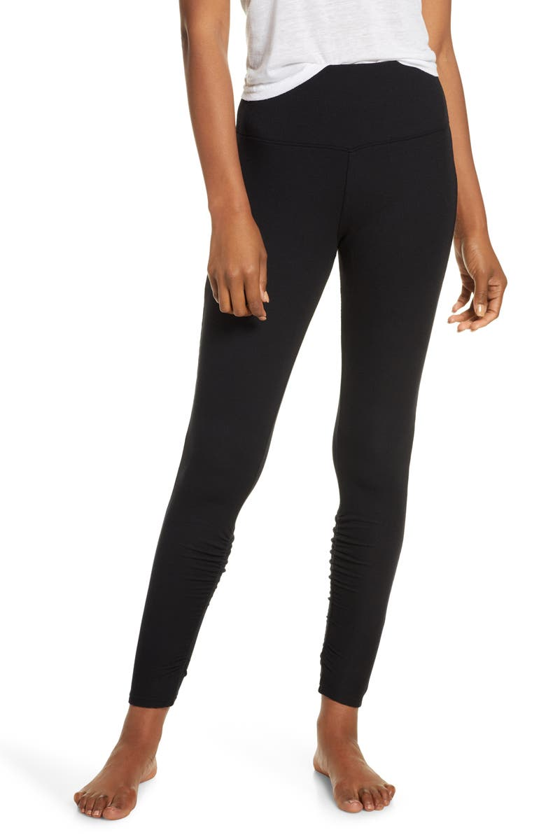 SKARLETT BLUE Dreamer High Waist Ribbed Leggings, Main, color, BLACK