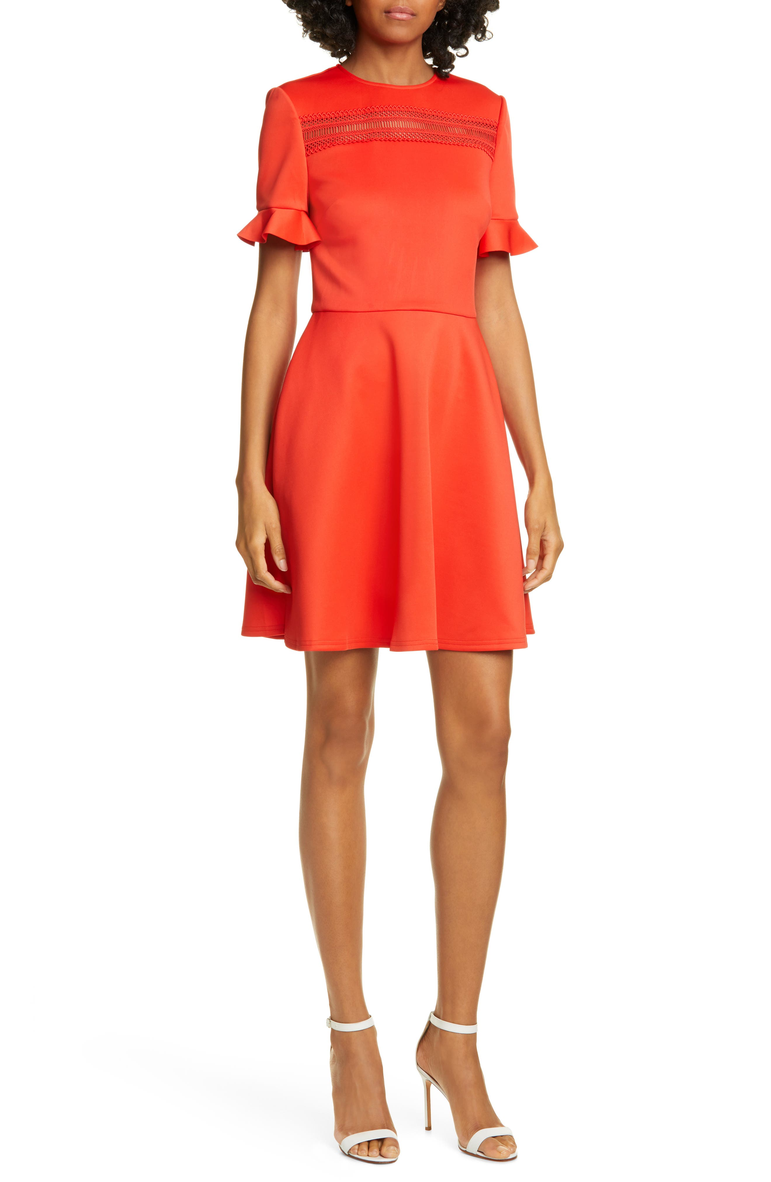 Ted Baker London Lace Inset Skater Dress, Red