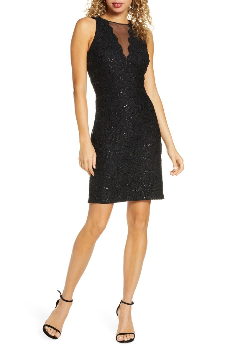 MORGAN & CO. Lace & Sequin Cocktail Dress, Main, color, BLACK