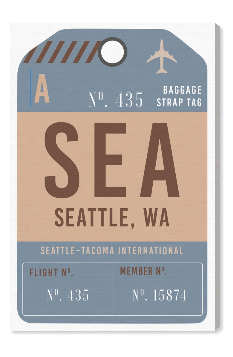 OLIVER GAL Seattle Luggage Tag Wall Art, Main, color, BLUE