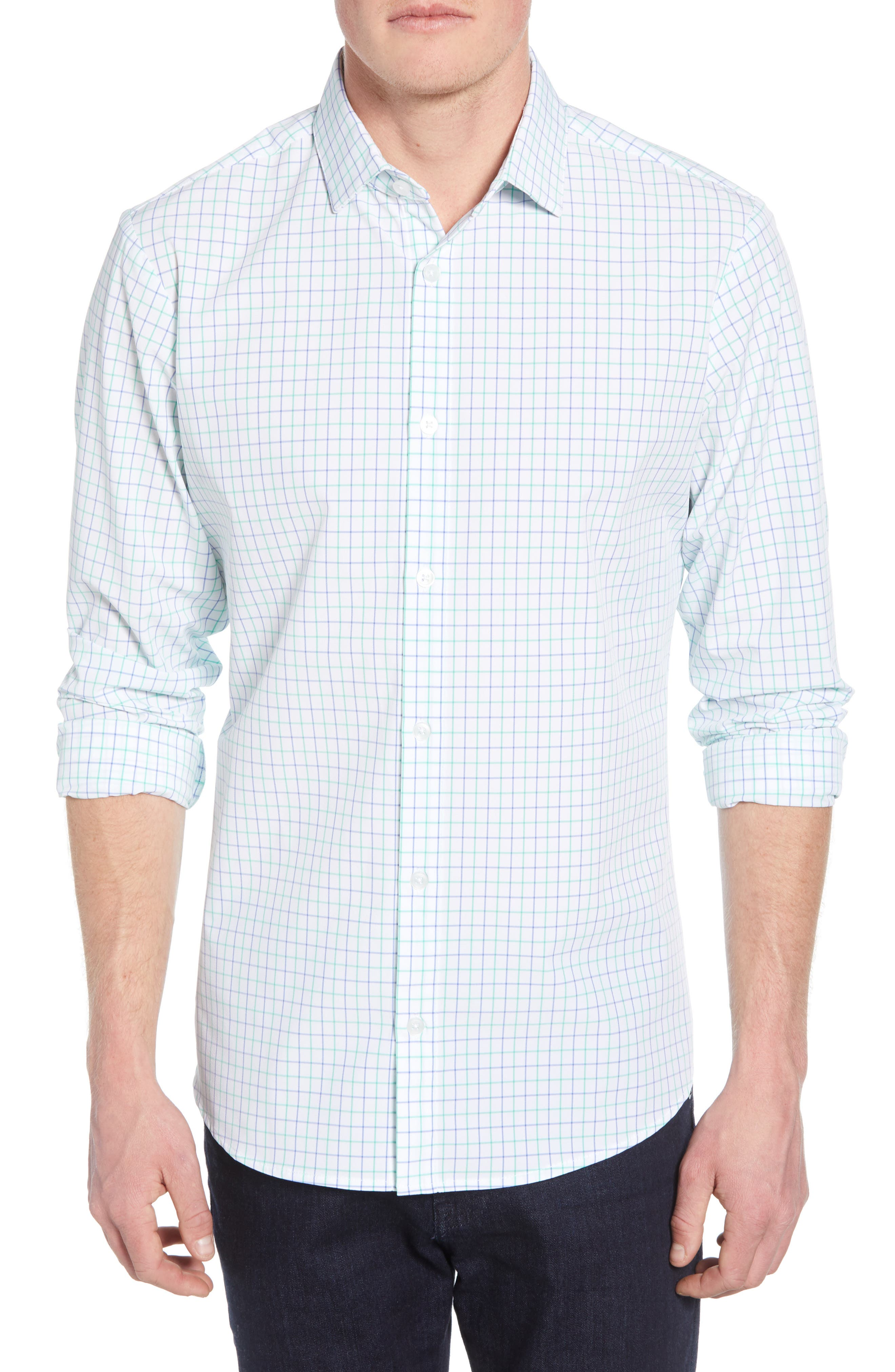 Hopkins Trim Fit Check Performance Sport Shirt, Main, color, GREEN