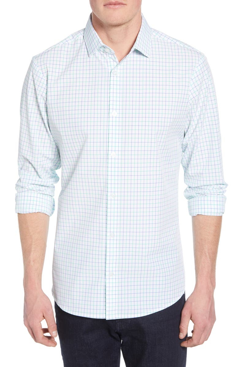 Hopkins Trim Fit Check Performance Sport Shirt by Mizzen+Main
