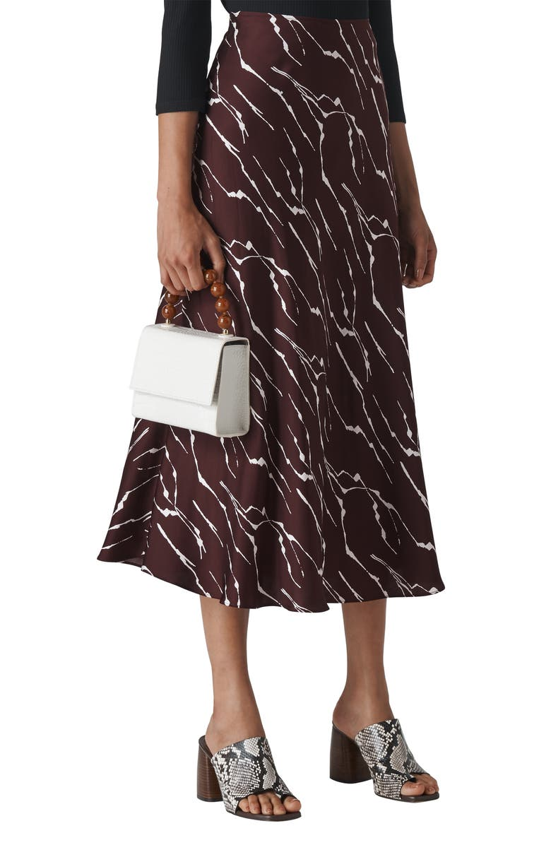 WHISTLES Twig Pattern Bias Skirt, Main, color, BURGUNDY