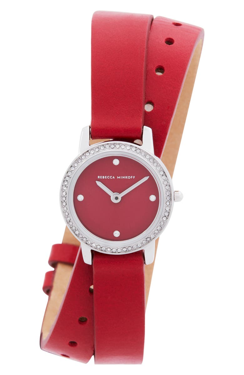 REBECCA MINKOFF Major Double Wrap Leather Strap Watch, 22mm, Main, color, RED/ SILVER