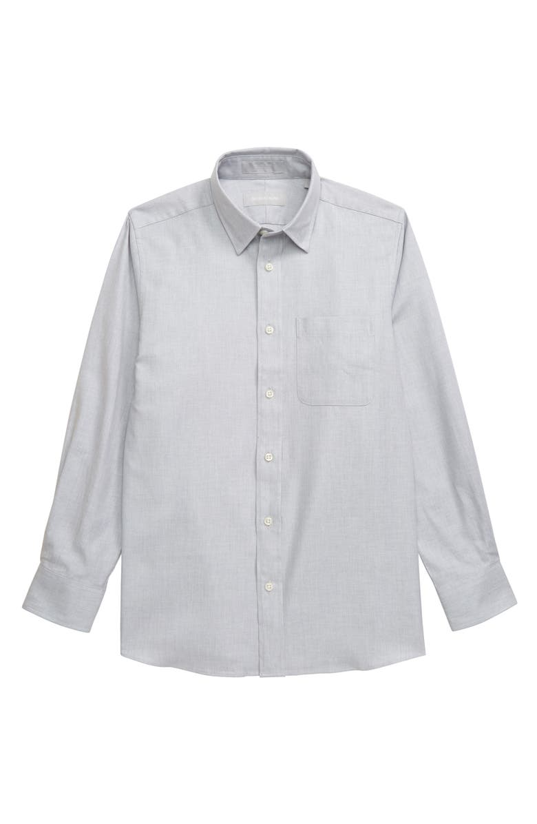 NORDSTROM Textured Dress Shirt, Main, color, GREY MICRO TWILL