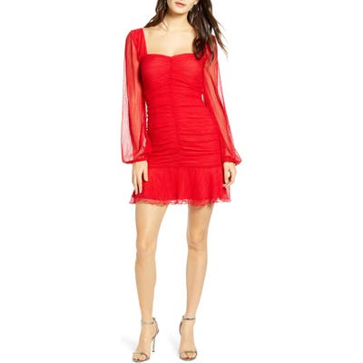 4Si3Nna Annie Long Sleeve Ruched Dotted Mesh Minidress, Red