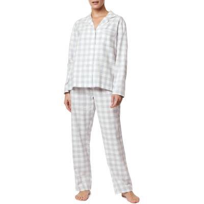 The White Company Metallic Gingham Brushed Cotton Pajamas, Grey