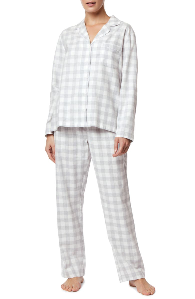 THE WHITE COMPANY Metallic Gingham Brushed Cotton Pajamas, Main, color, 020