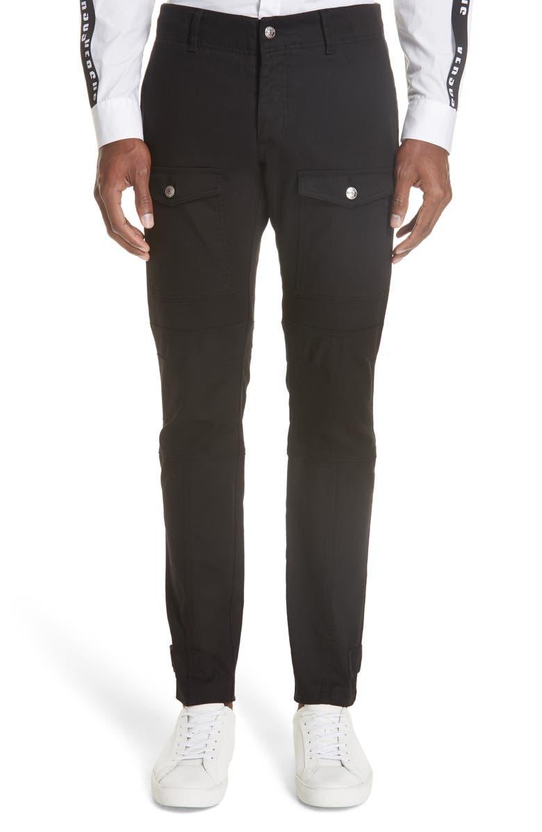 VERSUS VERSACE Slim Fit Denim Cargo Pants, Main, color, 001