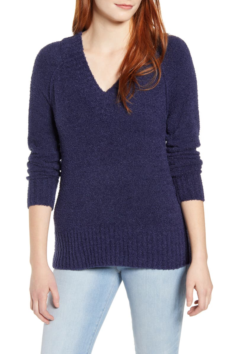CASLON<SUP>®</SUP> Plushy Double V-Neck Pullover, Main, color, NAVY PEACOAT