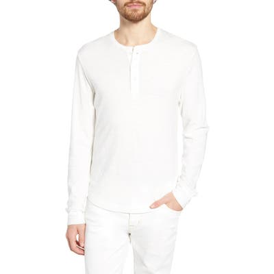 French Connection Slubbed Long Sleeve Henley, White