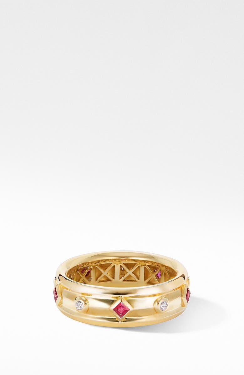 DAVID YURMAN Modern Renaissance 18K Gold Ring with Rubies & Diamonds, Main, color, YELLOW GOLD/ RUBY