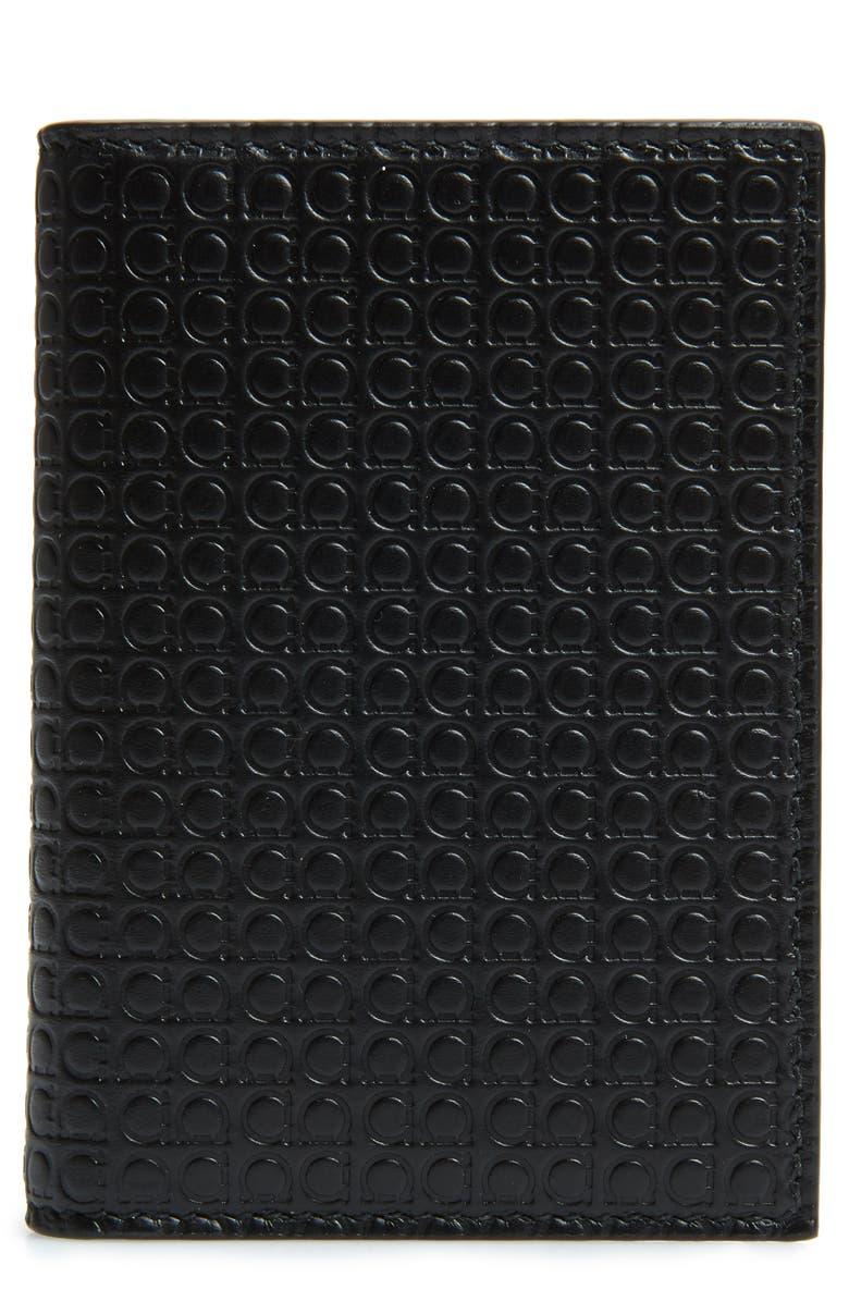 SALVATORE FERRAGAMO Gancini Leather Card Case, Main, color, BLACK