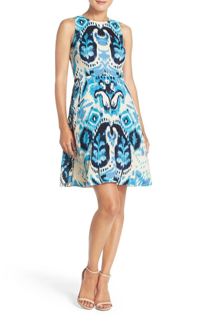 1257df3707e762 Donna Morgan Ikat Print Sleeveless Fit & Flare Dress (Regular ...