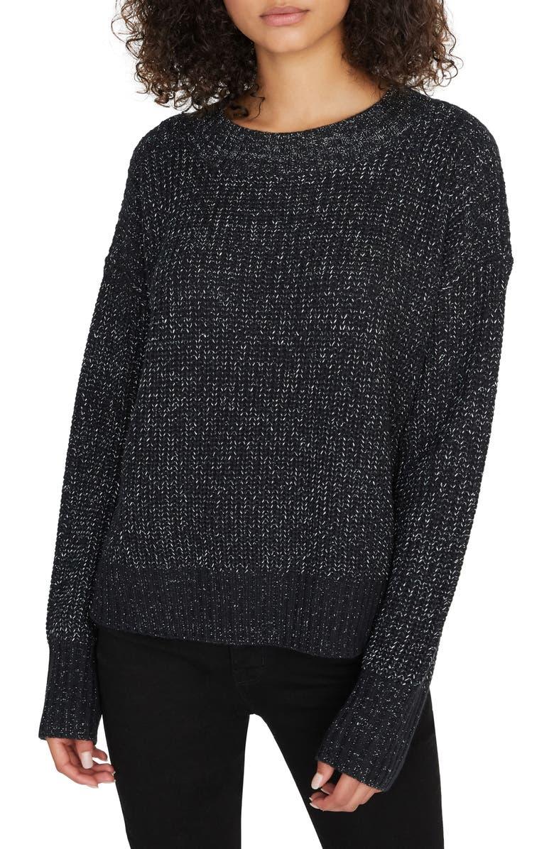 SANCTUARY Shine On Metallic Marled Sweater, Main, color, BLACK/ SILVER LUREX