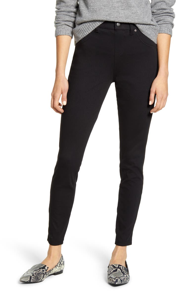 HUE Skimmer Denim Leggings, Main, color, BLACK