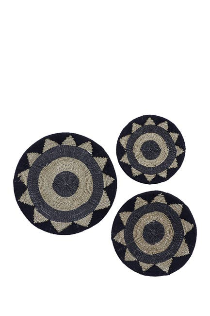 Image of Willow Row Black Cotton Rustic Wall Decor 3-Piece Set