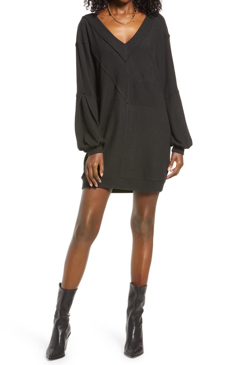 OPEN EDIT Cozy Double V Long Sleeve Throw On Dress, Main, color, BLACK