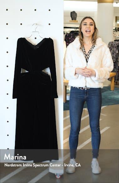 Mast Cutout Waist Long Sleeve Velvet Dress, sales video thumbnail