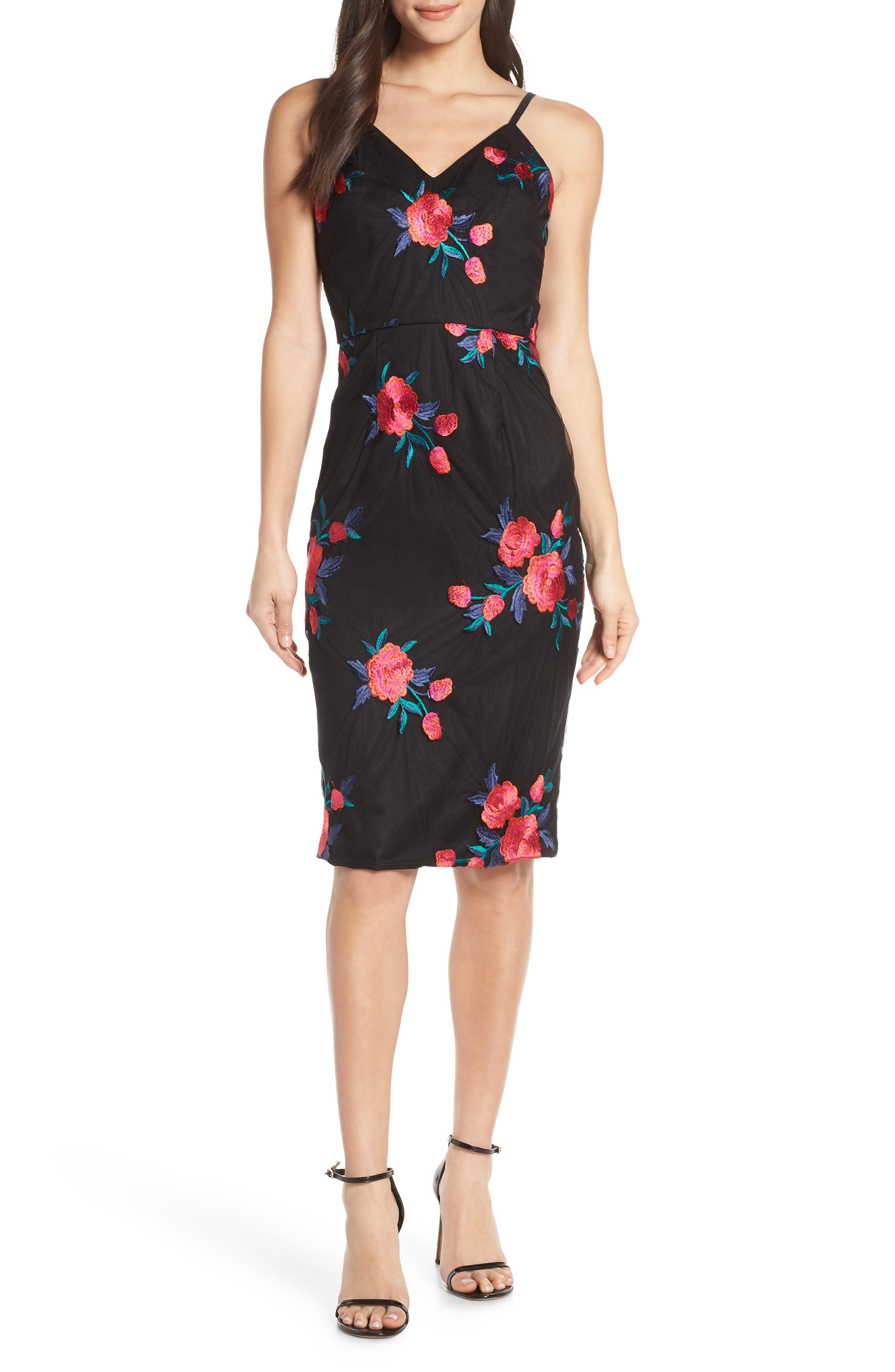 Chi Chi London Margaret Embroidered Mesh Cocktail Dress, Black