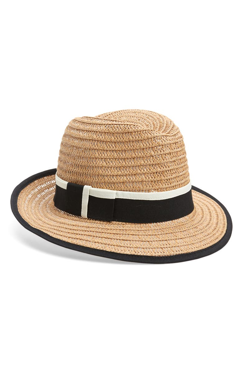 HALOGEN<SUP>®</SUP> Tipped Straw Panama Hat, Main, color, TAN COMBO